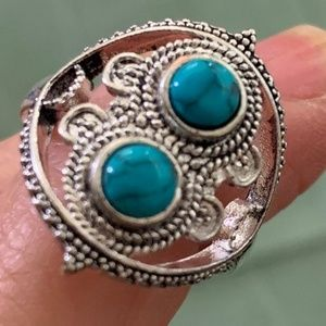 Jewelry - Silver Plated Turquoise Gemstone - Ring